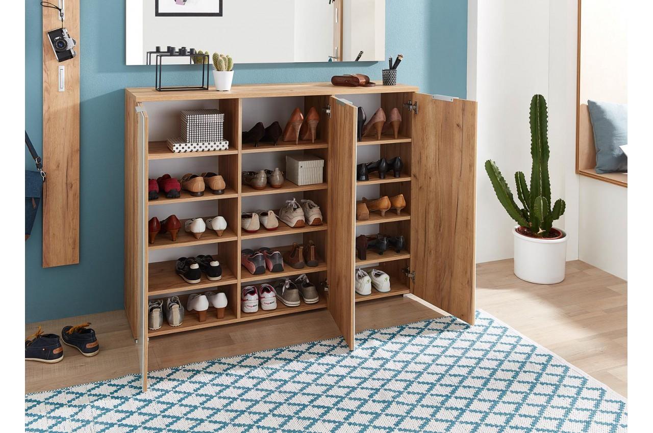 Meuble De Rangement De Chaussures Blanc Et Chene Intershop